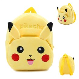 Wholesale Pikachu Plush Backpack - 2016 Pikachu Cartoon Yellow Backpack Baby Schoolbag Kindergarten Animal bags Plush Doll Toy Christmas Gift Double Shoulders Baby bags 10pcs