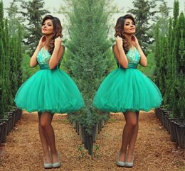 Wholesale Green Tulle Short Prom Dress - Graduation Dresses 2016 Hunter Green Lace Appliques Sash Short Prom Gowns Ball Gown Tulle Party Cocktail Dress Sexy Mini Cheap