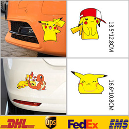 Wholesale Lighted Window Sticker - New Poke Pikachu Car Motorcycle Window 3D Wall Stickers Cartoon Figure Bedroom Nursery Kids Children Room Sticker Gifts HH-S01