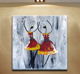 Wholesale Ballet Home Decor - Free Shipping Handmade Red Abstract oil paintings on Canvas Modern wall Art Ballet Two dancer For home Decor