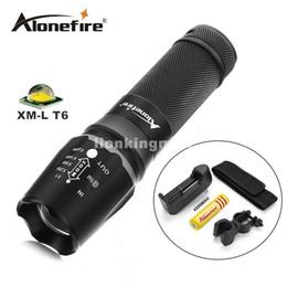 Wholesale Gun Mounted Flashlight - X800 2000LM gun Tactical Flashlight CREE XML T6 LED flashlight Torch Zoomable light Camping Hiking+18650 battery+charger+Holster+mounts
