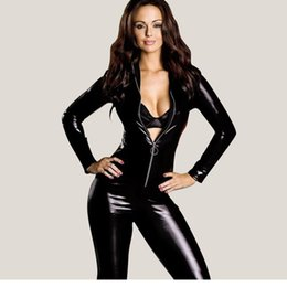 Wholesale Wet Look Jumpsuit - Wholesale- Dower Me Dower Me Black Sexy Costume Sexy Women Wet Look Clubwear 2016 Vinyl Catsuit Costume High Quality Jumpsuits W7795
