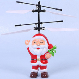 Wholesale Infrared Red Sensor - Electric Infrared Sensor Flying Ball Santa Claus LED Flashing Light Toys RC Helicopter Quadcopter Drone Toy Kids Christmas Gifts
