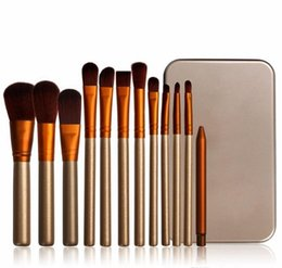 Wholesale Professional Facial Brush Free Shipping - Hot Professional 12 PCS Makeup Brushes Cosmetic Facial Make up Brush Tools Makeup Brushes Set Kit With Retail Box Free shipping