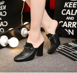 Wholesale Woman Thick High Heel Pumps - high quality~u617 genuine leather thick heel slides pumps mule shoes designer black red fashion classic