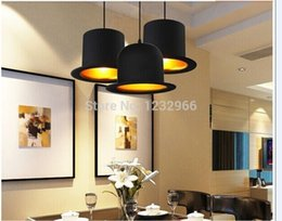 Wholesale Black Lampshade New - 2014 New E27 Pendant Lamp Aluminum Bowler Hat Lights Lampshade AC85-265V Jeeves & Wooster Top Hat Pendant Lights