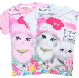 Wholesale Top Kids Fashion For Spring - 2017 fashion summer children brand clothing for kids girl short sleeve print 3d cat cotton t shirts tops baby clothes