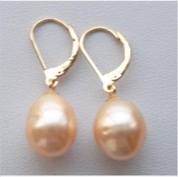 Wholesale South Sea Australian Earrings - A PAIR 10-12MM AUSTRALIAN SOUTH SEA PINK PEARL EARRING 14K YELLOW GOLD HOOK