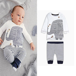 Wholesale Newborn Cartoon Animal - Boys Girls Cartoon elephant print long-sleeved striped tshirt tops tees baby boys clothes newborn autumn leisure suit set warm clothing