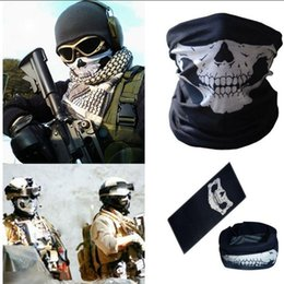 Wholesale face mask bandana neck - Skull Face Mask Motorcycle Ski Biker Neck Ghost Mask Bandana Balaclava Headwear Outdoor Sports Windproof Mask Warm Scarf OOA2718