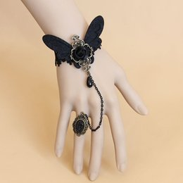 Wholesale Gothic Rings Chain - Gothic Masquerade Party Vampire Black Lace Rose Flower Charm Bracelets Ring Sets Fancy Dress Dance Hand Chain Decor Bracelets
