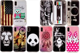 Wholesale Bowknot Case - USA Flag Soft TPU IMD Case For Iphone X 8 7 6 6s Plus Panda Dreamcatcher Bowknot Hand Lion Owl Elephant CD Camera Feather Cartoon Gel Cover
