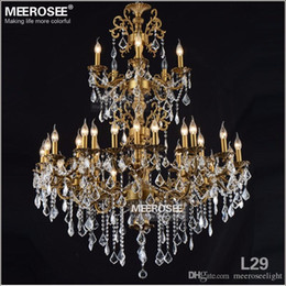 Wholesale Brass Lamp Arms - Luxurious Large Brass Color Crystal Chandelier Lamp Crystal Lustre Light Fixture 3 tiers 29 Arms Hotel Lamp
