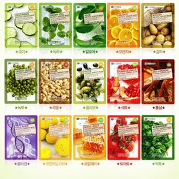 Wholesale Natural Korean Face - Natural Beauty Essence Face Mask Whitening Moisturizing Skin Care Treatment Korean Cosmetics FOOD A HOLIC 3D Facial Mask Sheet Makeup DHL
