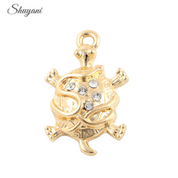 silver plate turtle charms wholesale Australia - Crystal Turtle Tortoise Charms Pendants for Bracelet Living Memory Locket Necklaces Jewelry Making DIY Handmade Craft 18*28mm Silver Plated