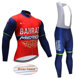 Wholesale Merida Road Bike Clothing - 2017 BAHRAIN MERIDA TEAM cycling jersey bib pants set Ropa Ciclismo autumn  Winter Men cycling wear road bike clothing suit J1303