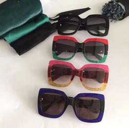 Wholesale Glitter Glasses Frames - Hot 0083 Sunglasses Oversize Fuchsia Havana Gold Glitter Square 0083S Sunglasses Fashion Brand Sunglasses New with Hard Case Box