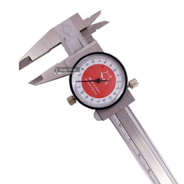 Ступенчатый датчик онлайн-Wholesale-Stainless steel dial caliper 0.02mm 0-100mm -proof inner&outer diameter measuring depth steps gauging dial vernier