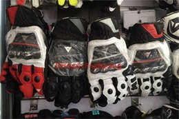 Wholesale Motorcycles Model - 2014 models France DAINESE 3 top racing gloves motorcycle gloves leather gloves with carbon fiber black white size M L XL