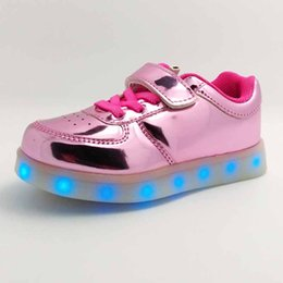 Wholesale Flat Metal Hooks - 2016 Girls LED Sneakers Sport Shoes 11 Different Flash Lights USB Recharge Metal PU Leather Hook&loop Straps Band Flat Sole Anti-slip