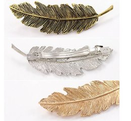 Wholesale Hair Clips Blanks - Fashion Feather-shaped Hair Barrette Hair clip Blank Hairpin Jewelry Beautiful Barrettes Fashion hair accessories free shipping