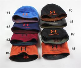 Wholesale Double Layer Fleece - 10pcs DHL Dual Layer Beanies Knitted Hats Under Winter Warm Fleece Beanie Outdoor U A Double Wear Skull Caps Men Armor Crochet Skiing Hats