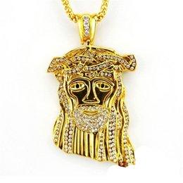 Wholesale 24k Men Chain - Hip hop long necklace 24K gold plated High quality crystal jesus piece pendant Fashion Jewelry for women & men