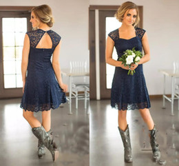 Wholesale Short Bridemaid Dresses Red - 2017 Country Short Bridesmaid Dresses Capped Sleeves Navy Blue Above Knee Length Lace Bridemaid Gowns Party Maid Of Honor