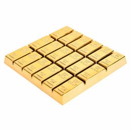 Mantel de oro online-Al por mayor-1Pcs simulación Copa de ladrillo de oro Mat Coffee Drink Placemat Vajilla mesa bebidas Coaster