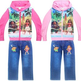 Wholesale Girls Leopard Hoody - INS girls moana vianan Hoodie Hoody 2pc set long sleeved cotton hooded Sweater tshirt with zipper & denim blue pants shorts 3-10years
