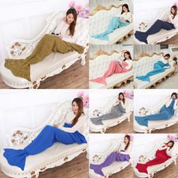 Wholesale Baby Bedding Fish - Mermaid Fish Tail Sofa Blanket 90*50cm Baby Sleeping Bags Kids Soft Knitting Blankets Handmade Crochet Bed Warm Sleeping Bags