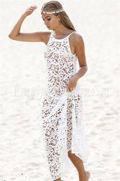 Wholesale Maxi Dress Belt White - Bohemian sexy lace beach Condole belt maxi dresses plus size summer women fashion seaside sheer hollow out long bikini smock blouse dress