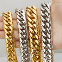 Wholesale Solid Gold Jewelry Wholesalers - Top quality Classical Jewelry Heavy MENS STAINLESS STEEL 24K SOLID GOLD FINISH THICK MIAMI CUBAN LINK NECKLACE CHAIN Length 60CM Width 19mm