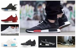 Wholesale Black Denim Fabric - 2017 NMD Runner R1 Again Triple black White red pk 3M Primeknit Men Women nmds boost Running Shoes sports Shoes Sneakers eur