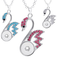 Wholesale White Metal Swan - Ginger NOOSA Pendants Hollow Swan Metal Fit 18mm Snap Button Necklace With Rhinestone Crystal DIY Interchangeable Jewelry 18pcs E770E