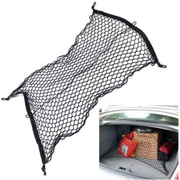 Wholesale Luggage Net Hook - 70 x 70cm Universal Car Trunk Cargo Net Car boot string bags Nylon Luggage Storage Cargo Organiser Net With 4 Plastic Hooks