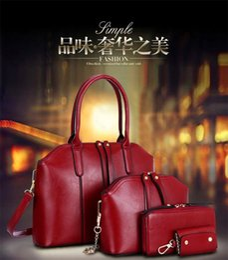 Wholesale Burgundy Cross Body Bag - 2016 New Wax oiled Genuine Leather Women Handbag Shoulder Crossbody Bag 4Pcs Sets Luxury Handbag Messenger Bag Purse Wallet