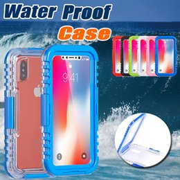 Wholesale Heavy Duty Straps - Waterproof Cases Heavy Duty Hybrid Transparent Front Back Strap Swimming Diving Underwater Watertight Cover Case For iPhone X 8 7 Plus 6 6S