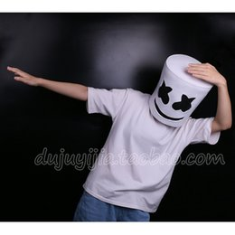 Argentina 2018 Nuevo Cosplay de Halloween DJ Marshmello Máscara Blanca Disfraz de Traje Accesorio de Látex de Cabeza Completa cheap white animal costume Suministro