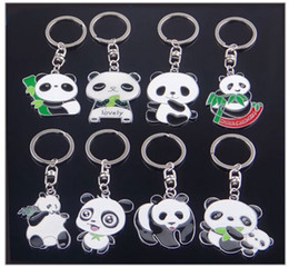 Lindo llaveros móviles online-Día de San Valentín / Cumpleaños / Navidad / Regalos de boda Tour Souvenir Show Pequeños regalos Animal de dibujos animados lindo Panda Llaveros Car Bag Mobile Colgantes