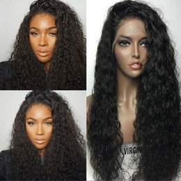 Wholesale Hair Color Beyonce - 300 density Water Wave Lace Front Wig Wet and Wavy Human Hair Lace Front Wig Glueless Peruvian Beyonce Lace Front Wigs