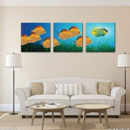 Wholesale Modern Art Fish Paintings - Three Picture Combination Colorful Fish Paintings Custom Oil Paintings Gold Fish Paintings Wall Art on Canvas Modern Wall Art Pictures