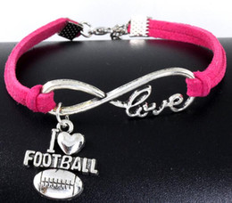 Wholesale I Love Football - 10pcs Vintage Silver Love Infinity I Love Football Charm Bracelet Bangle For Women Mixed Color Velvet Rope Bracelet Jewelry Gift Accessories