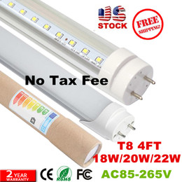 Wholesale Usa Ac - No Tax Fee + 4ft led t8 tubes Light 18W 20W 22W 1200mm Led Fluorescent Lamp Replace Light Tube AC 110-240V+Stock In USA