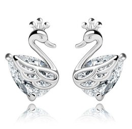 Wholesale 925 Swan Earring - Women Girl's 925 sterling silver double side Earrings Swan With Crystal Fit Birthday Gift Fashion Earring Jewelry Free shipping
