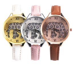 Wholesale Flower Wrist Bands - Fashion thin leather bands women elephant watch wholesale 2017 new ladies casual roma flower dress quartz wrist watches