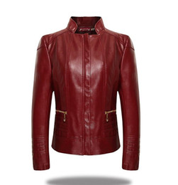 Wholesale Womens Leather Coat Xl - Plus Size XL-6XL Winter Womens Long Sleeve Zipper Slim Jackets Women European Motorcycle Style PU Leather Jacket Coats New2016