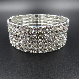 Wholesale Cheap Jewelry Accessories For Wedding - New Sparkly 6 Bow Rhinestone Crystals Bangle Bracelet For Wedding Prom Party Bridal Jewelry Accessories Cheap In Stock 2016