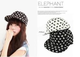 Wholesale Korea Snapback - Wholesale New Korea SNAPBACK elephant patterned baseball cap flat -brimmed hat Korean men and women can be adjusted