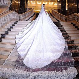 Wholesale Ivory Floral Veils - Luxury One Layer 6 Meters Long Bridal Veil With Floral Appliques Beaded Cathedral Length Wedding Veils For Bridal Wedding Accessories